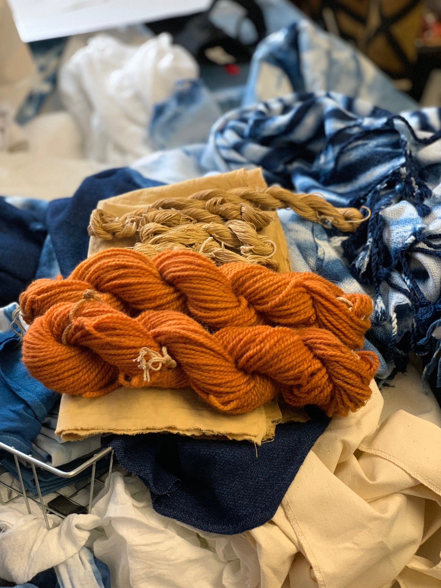 hand dyed yarns and fabric